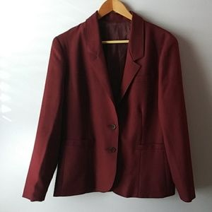 Classic Vintage Blazer Maroon Polyester Sears